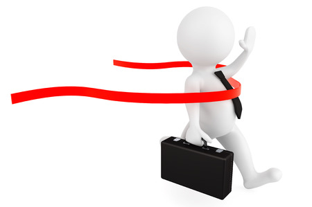 Winner concept. 3d person businessman crossing the finishing line on a white background