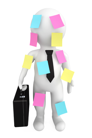 3d person businessman with memo papers on a white background photo