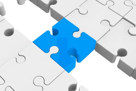 Blauwe puzzel als een brug met een witte delen op een witte achtergrond Stockfoto