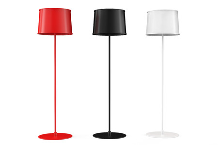 Set of three floor lamps on a white background photo