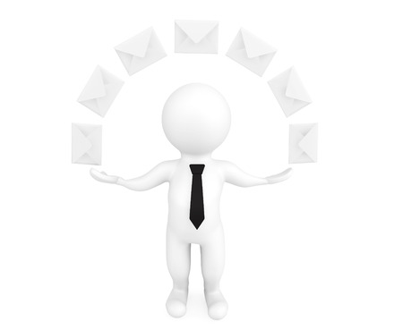 Email Concept. 3d person with envelopes on a white background photo