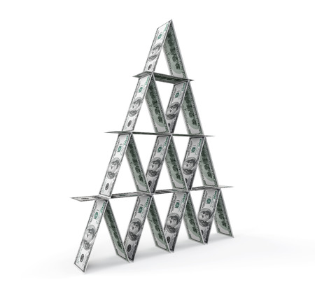 Financial concept. Abstract money pyramid on a white background photo