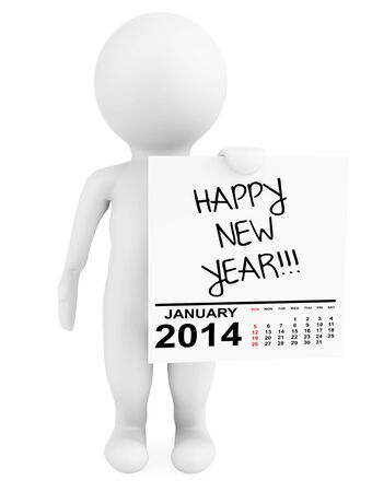 Character holding calendar January 2014 with Happy New Year Sign on a white background photo