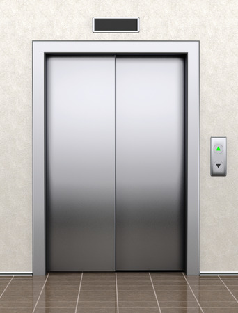 elevator: Modern elevator with closed doors