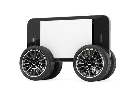 Mobile Phone with Blank Screen on Wheels on a white background