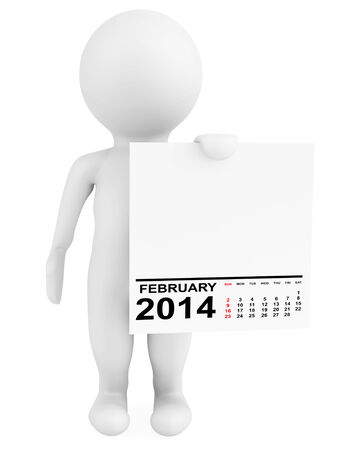 Character holding calendar February 2014 on a white background photo