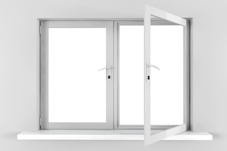 looking through an object: Opened Closed plastic window with gray wall