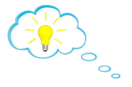 Thought bubble and idea bulb on a white background Stock Photo