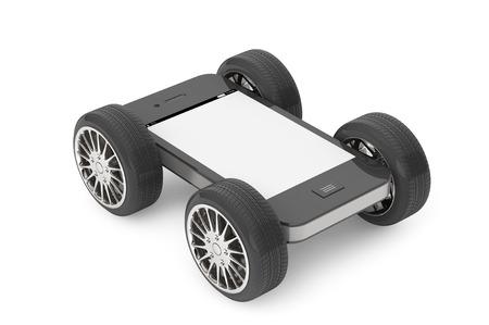 Mobiele telefoon met leeg scherm op wielen op een witte achtergrond