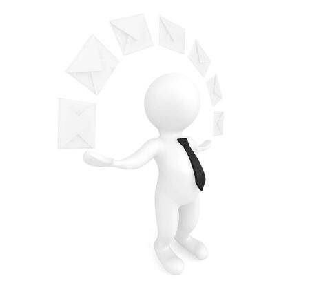 3d person with envelopes on a white background