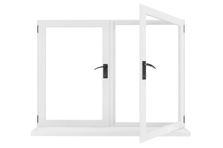 looking through an object: Opened Window isolated on a white background Stock Photo