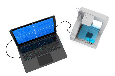 3d printer connected to laptop on a white background photo