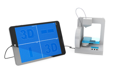 3d printer connected to Tablet PC on a white background photo