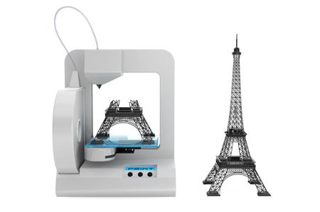 imprenta: 3d impresora construir la Torre Eiffel modelo sobre un fondo blanco
