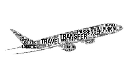 Aviation concept made with words drawing as aircraft on a white background