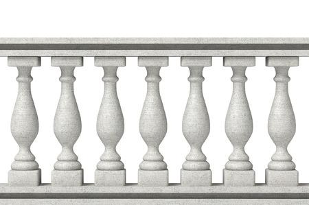 白い背景の上の手すり柱 写真素材