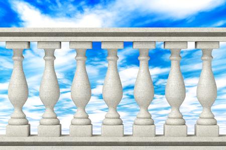 Balustrade Pijlers op een hemel achtergrond Stockfoto - 26305347