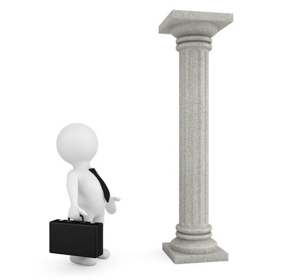 architectural team: 3d businessman with classic column on a white background