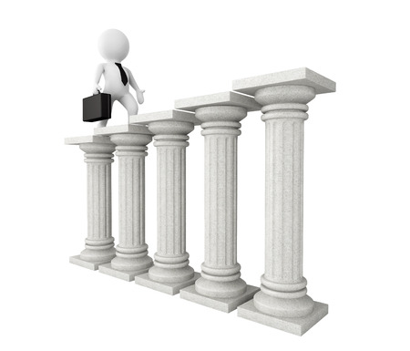 architectural team: 3d businessman with classic columns on a white background