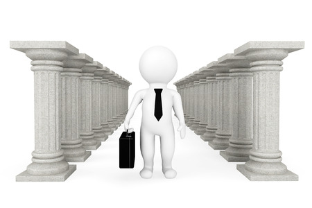 3d businessman with classic columns on a white background photo