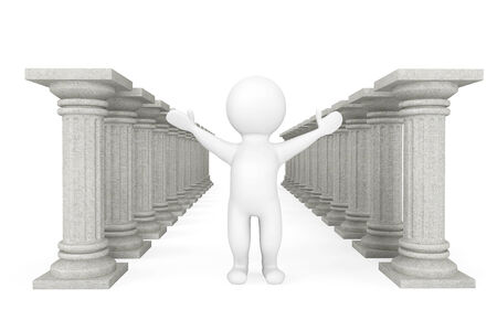 architectural team: 3d person with classic columns on a white background