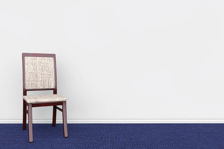 Chair in Empty grey rooms wall with blue carpet photo