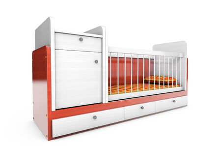 Wooden childrens bed on a white background photo