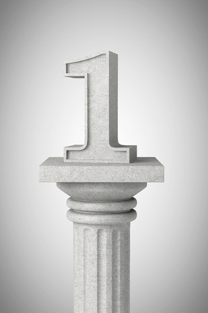 architectural team: Number one over classic column on a concrete background