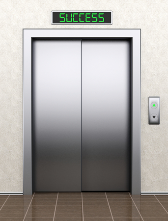 To success concept. Modern elevator with closed doors extreme closeup photo