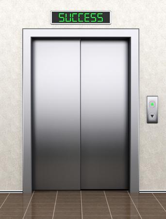 Tot succes concept. Moderne lift met gesloten deuren extreme close-up