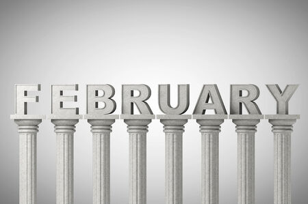 February month sign on a greek style classic columns photo