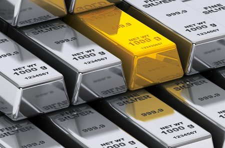 silver bars: Gold and silver bars on a white background