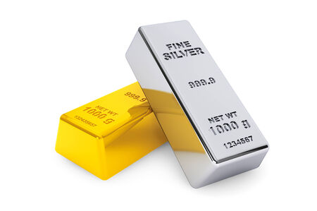Gold and silver bars on a white background photo
