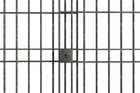 금속 감옥 막대는 흰색 배경에 고립
