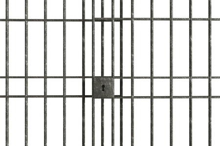 rejas de hierro: Barras de la cárcel de metal aislado en un fondo blanco