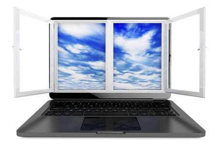 Laptop with opened window and sky view on a white background photo