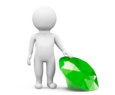 3d person with green diamond on a white background photo