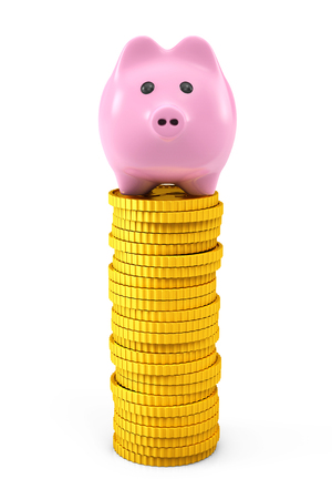 Pink piggy bank over Golden dollar coin stacks on a white background photo