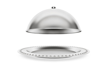 Silver Restaurant cloche on a white background 版權商用圖片