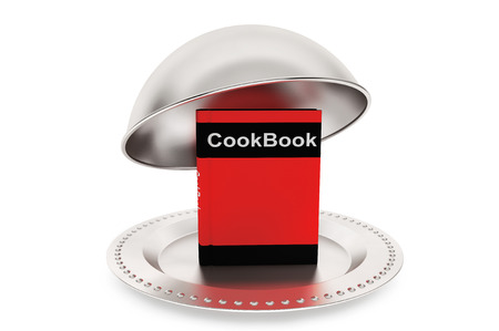 Silver Restaurant cloche with Cook Book on a white background photo