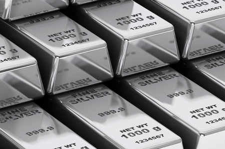 treasury: Stack of Bank Silver Bars extreme closeup