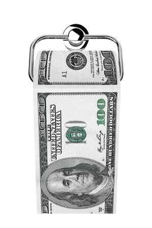 Roll of 100 dollars bills as a toilet paper on chrome holder on a white background photo