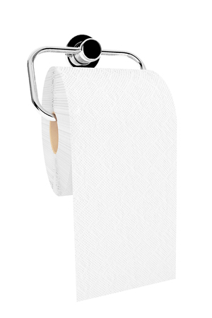 Toilet paper on chrome holder on a white background photo