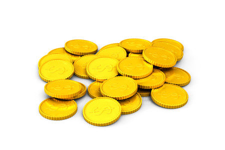 Heap of golden dollar coins on a white background Stock Photo