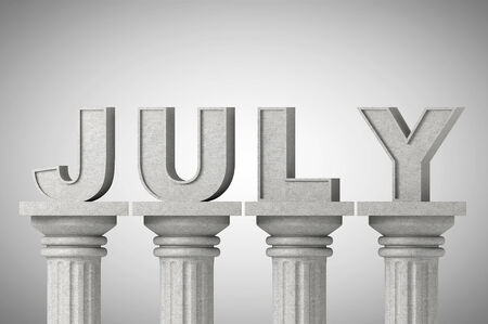 July month sign on a greek style classic columns photo