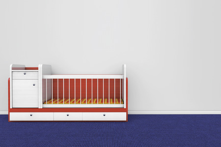 Wooden children bed against a blank gray wall photo