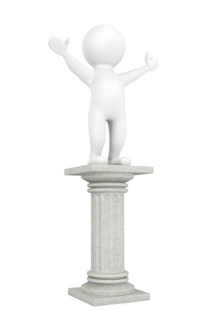 3d person over classic column on a white background Stock Photo
