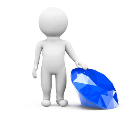 3d person with blue diamond on a white background photo