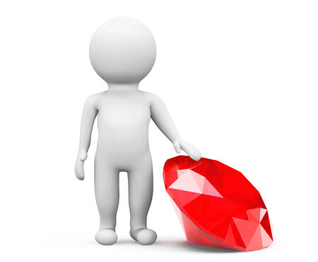 3d person with red diamond on a white background photo