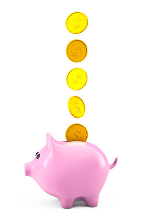 Golden dollars coins falling into a pink piggy bank on a white background photo